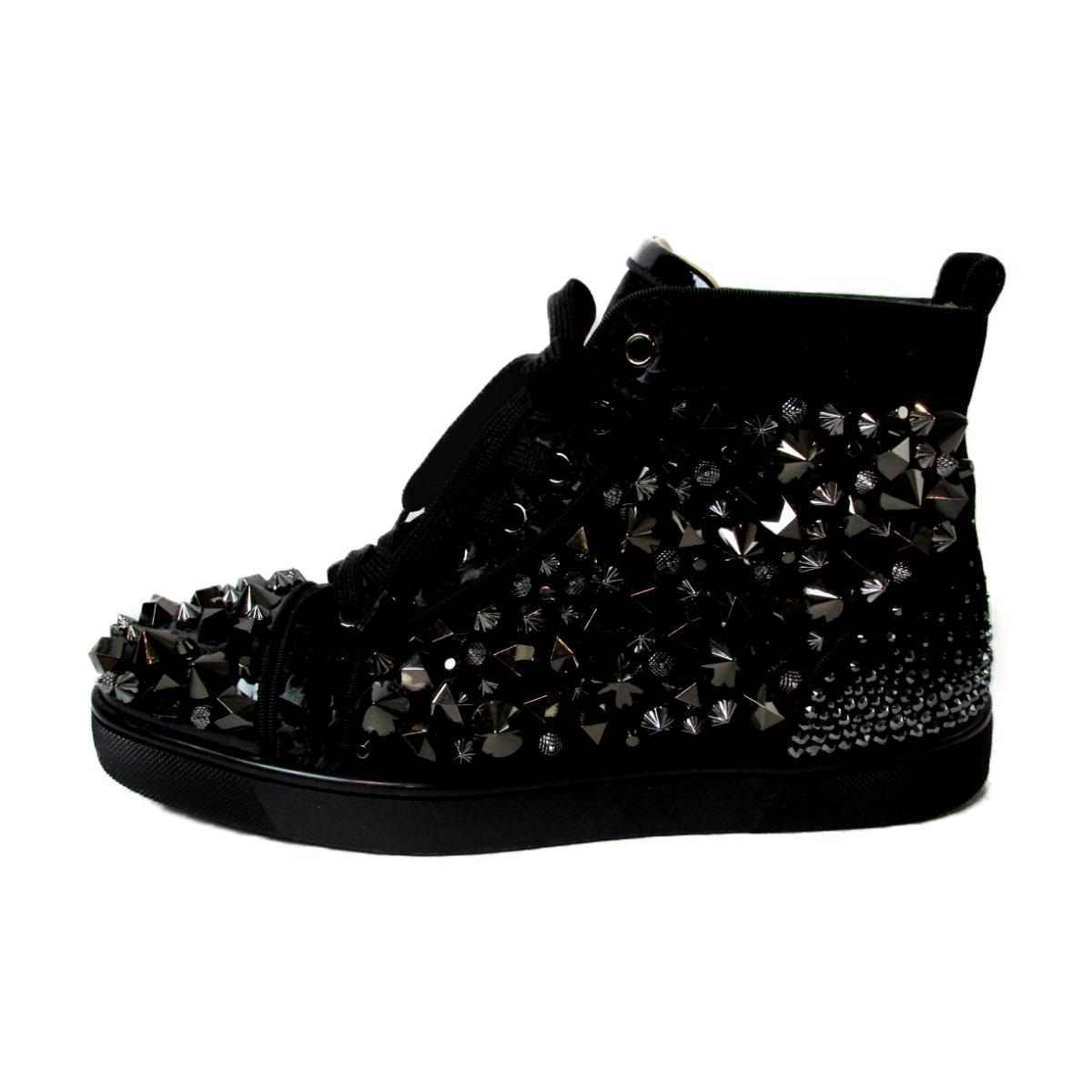 watch 3e4f0 c3b36 Christian ルブタンハイカット sneakers men gap Dis suede X patent velour studs  spangles bijou black | Christian louboutin BRANDOFF brand ...