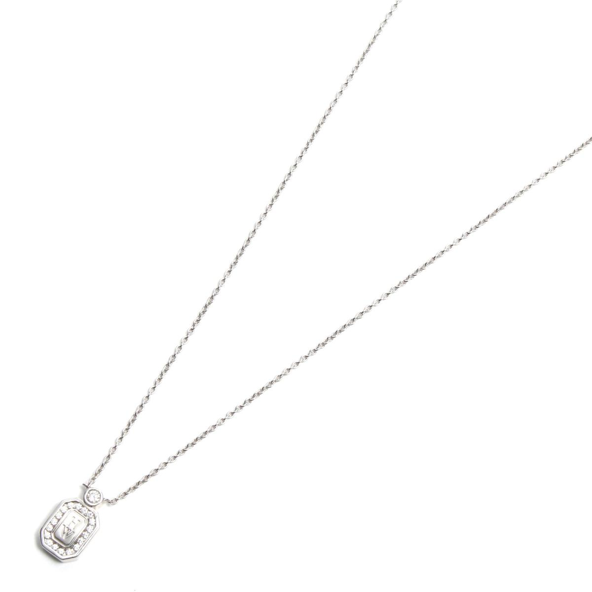 ハリーウィンストン HWロゴダイヤモンド ネックレス ブランドジュエリー レディース K18WG (750) ホワイトゴールド x ダイヤモンド 【中古】   HARRY WINSTON BRANDOFF ブランドオフ ブランド アクセサリー ペンダント