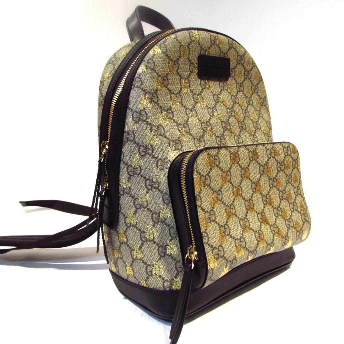 Auth GUCCI GG supreme Bee print Rucksack backpack bag 427042 canvas  Beige/Gold Used