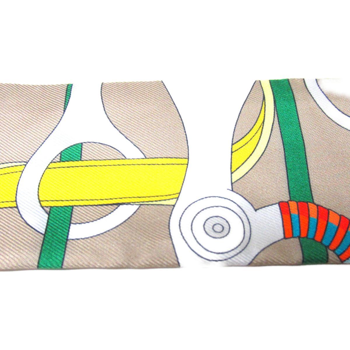 エルメス トゥイリー 衣料品 レディース シルク ベージュxイエローxホワイトxグリーンHERMES BRANDOFF0nwOkX8P