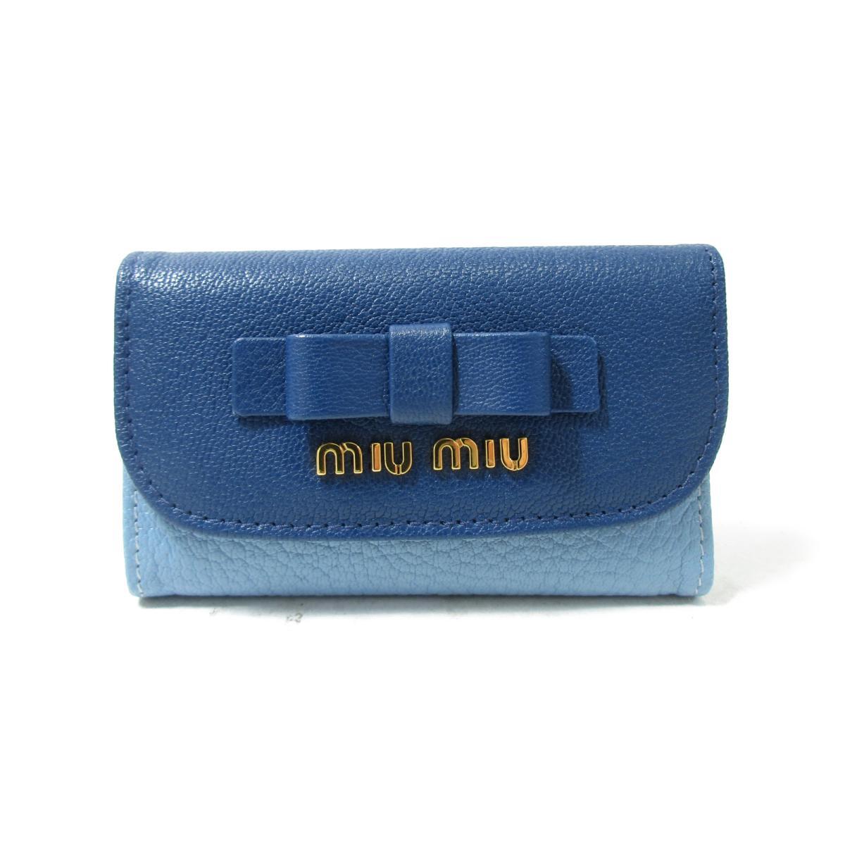 ミュウミュウ キーケース レディース レザー ブルー5M0222miu BRANDOFF ブランドオフ ブランド ブランド雑貨 小物 雑貨 キーホルダーOTkXZPilwu