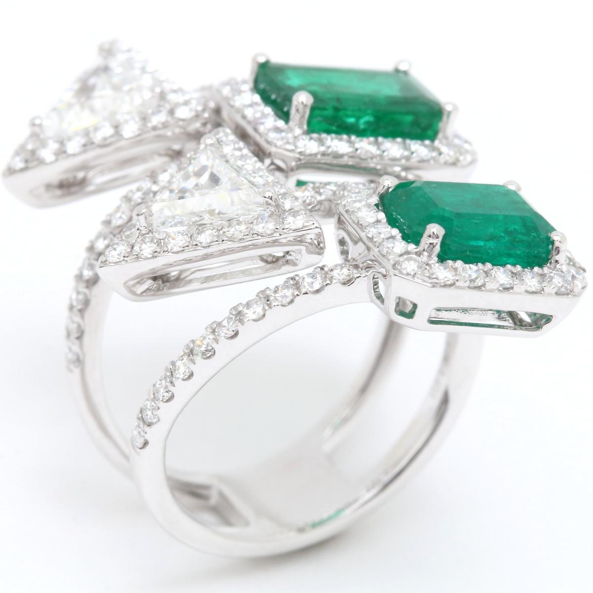 【在庫僅少】 ジュエリー エメラルド ダイヤモンド リング 指輪 ノーブランドジュエリー レディース K18WG (750) ホワイトゴールド x 【】   JEWELRY BRANDOFF ブランドオフ アクセサリー, ユラチョウ 985e603e