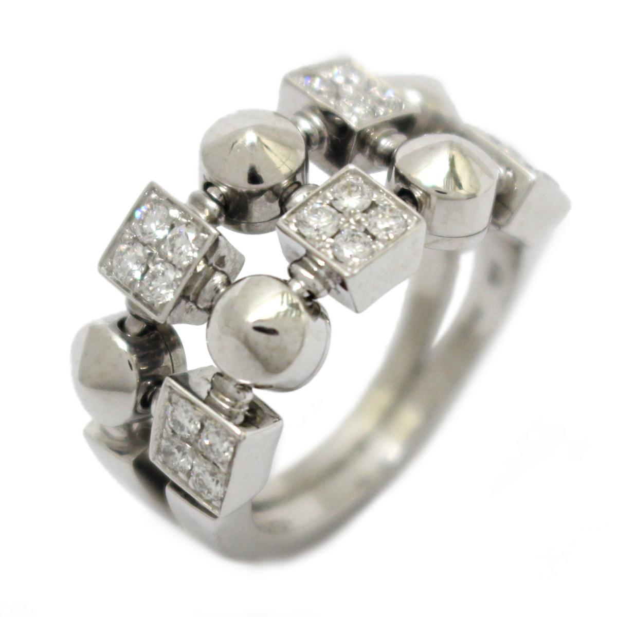 ブルガリ ルチア ダイヤモンドリング 2ロウ 指輪 ブランドジュエリー レディース K18WG (750) ホワイトゴールド ダイヤモンド (AN851958) 【中古】   ブランド