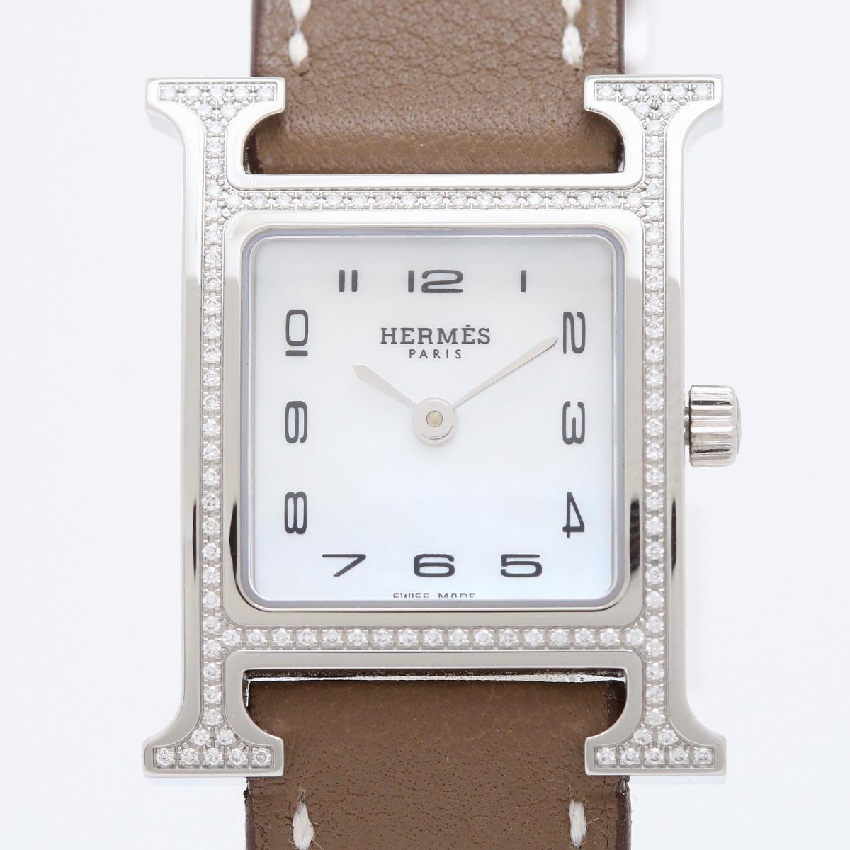 激安通販新作 エルメス Hウォッチ 腕時計 時計 レディース ステンレススチール (SS) x レザー ダイヤモンド (HH1.235) 【】   HERMES BRANDOFF ブランドオフ ブランド ブランド時計 ブランド腕時計 ウォッチ, 名入れテントの老舗オオハシテント b28851e2