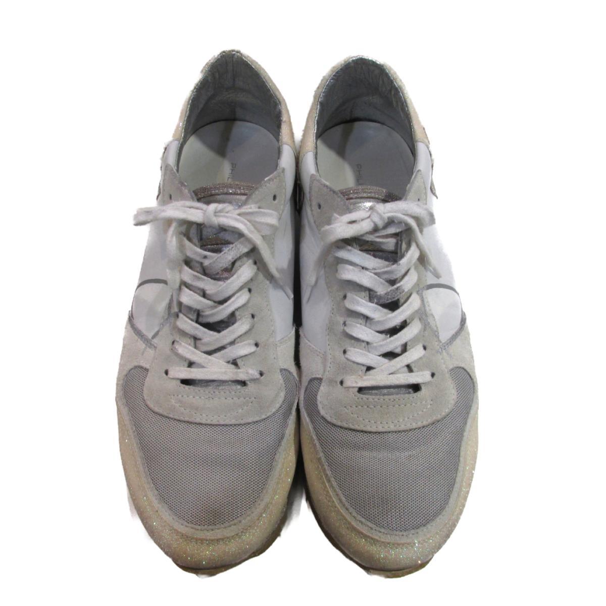 セレクション PHILIPPE MODEL スニーカー メンズ レザー × スエード ホワイト グレー シルバー ラメ 【中古】 | SELECTION BRANDOFF ブランドオフ ブランド 靴 シューズ クツ