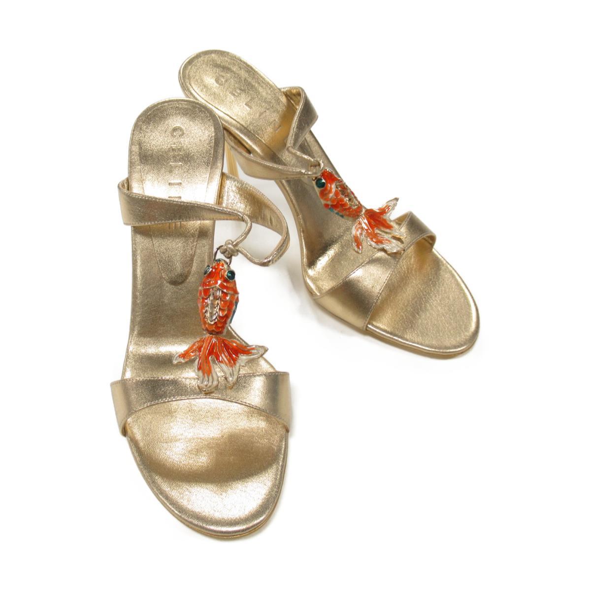 セリーヌ サンダル レディース レザー ゴールド 【中古】 | CELINE BRANDOFF ブランドオフ ブランド 靴 シューズ クツ ストラップ