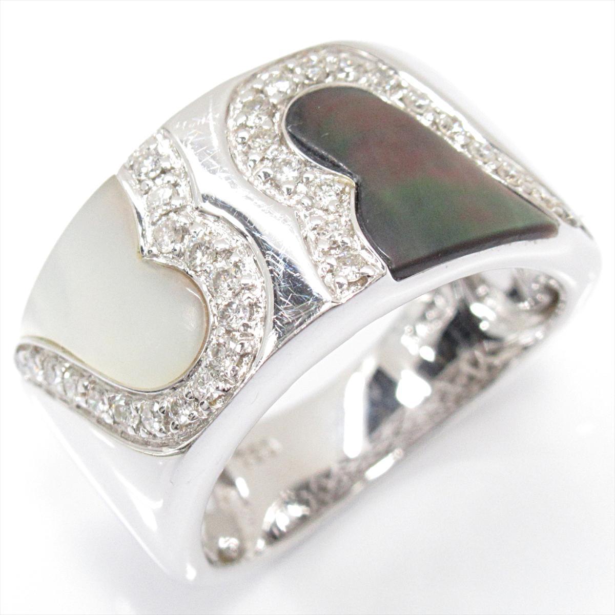ジュエリー マザーオブパールリング 指輪 ノーブランドジュエリー レディース K18WG (750) ホワイトゴールドxマザーオブパールx ダイヤモンド (0.26ct) 【中古】 | JEWELRY BRANDOFF ブランドオフ ブランド アクセサリー リング