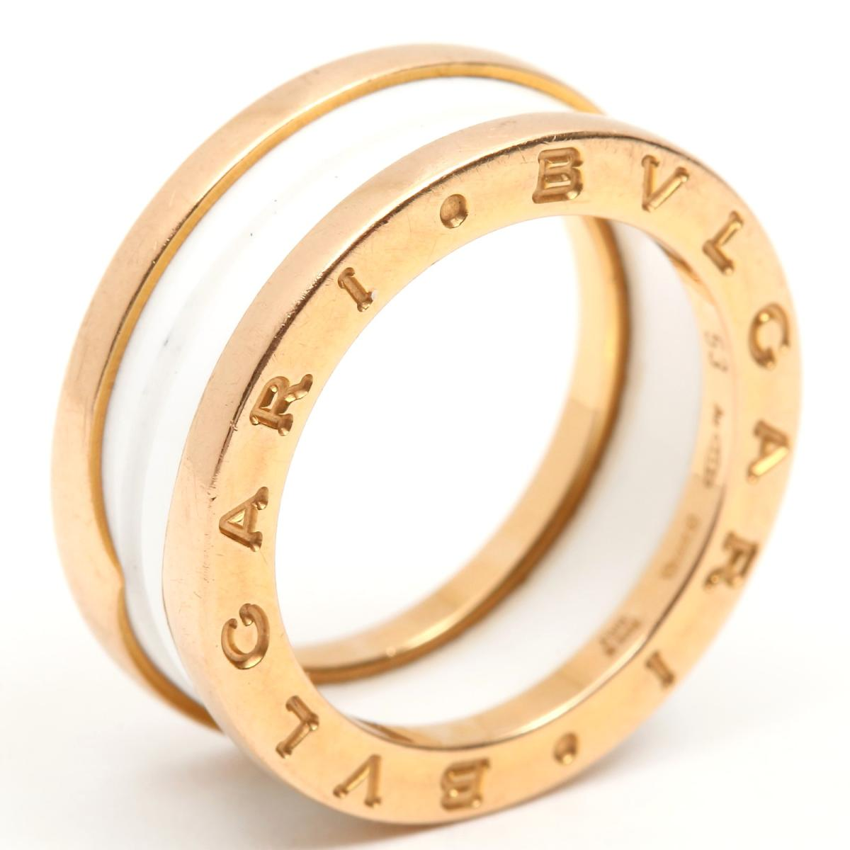 ブルガリ B-zero1 リング ビーゼロワン 指輪 ブランドジュエリー メンズ レディース K18PG (750) ピンクゴールド x ホワイトセラミック 【中古】   BVLGARI BRANDOFF ブランドオフ ブランド ジュエリー アクセサリー