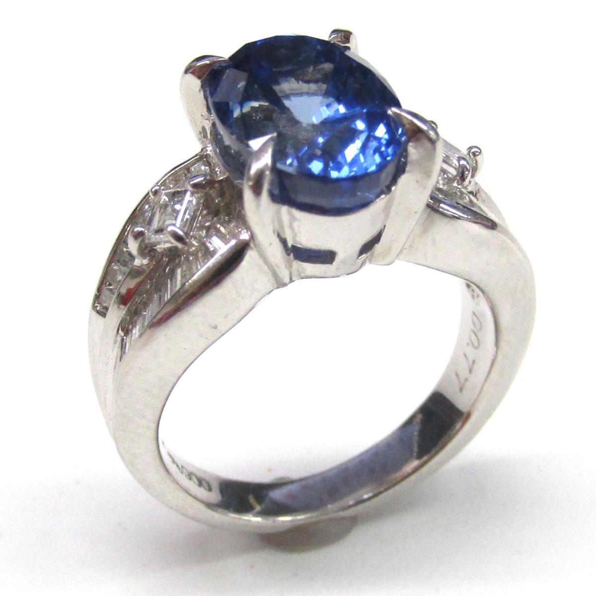 ジュエリー サファイア ダイヤモンド リング 指輪 ノーブランドジュエリー レディース PT900 プラチナ x (5.367ct) x (0.77ct) 【中古】 | JEWELRY BRANDOFF ブランドオフ ブランド アクセサリー