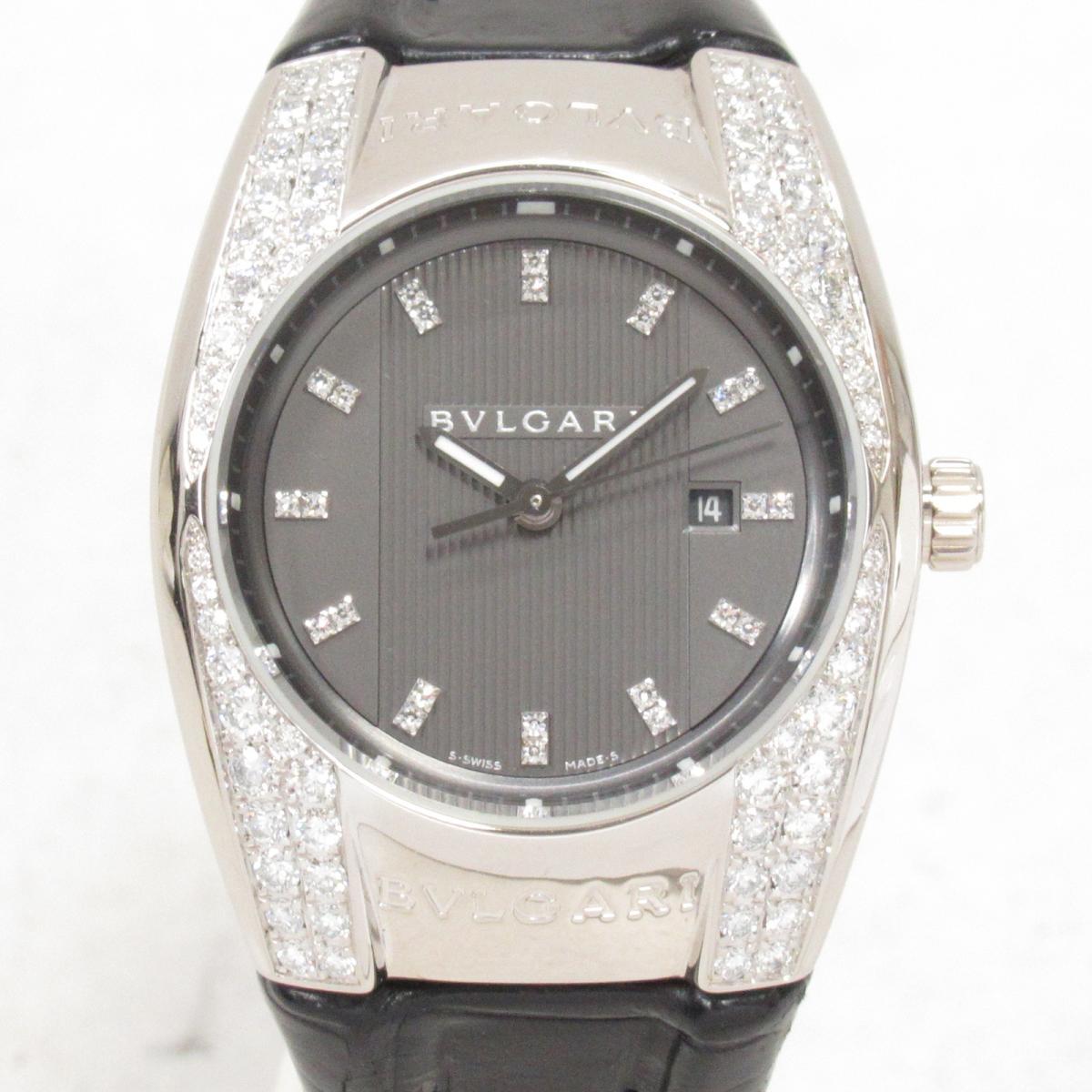 【中古】ブルガリ エルゴン 腕時計 ウォッチ 時計 レディース 18KWGxダイヤモンドxレザーベルト (EGW30G)