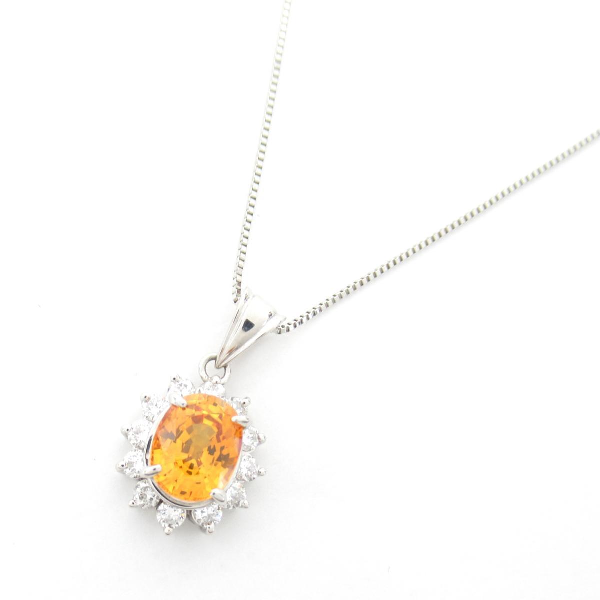 ジュエリー ゴールデンサファイア ダイヤモンド ネックレス ノーブランドジュエリー レディース PT900 プラチナ x サファイア2.71ct ダイヤモンド0.60ct 【中古】 | ブランド