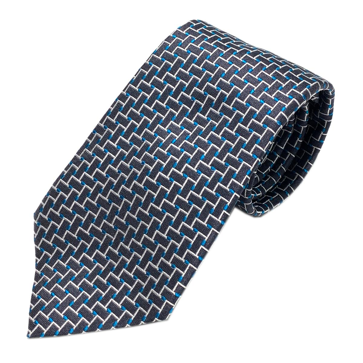 エンポリオアルマーニ ネクタイ 衣料品 メンズ シルク ブルーxブラックxホワイト | EMPORIO ARMANI BRANDOFF ブランドオフ ブランド スーツ