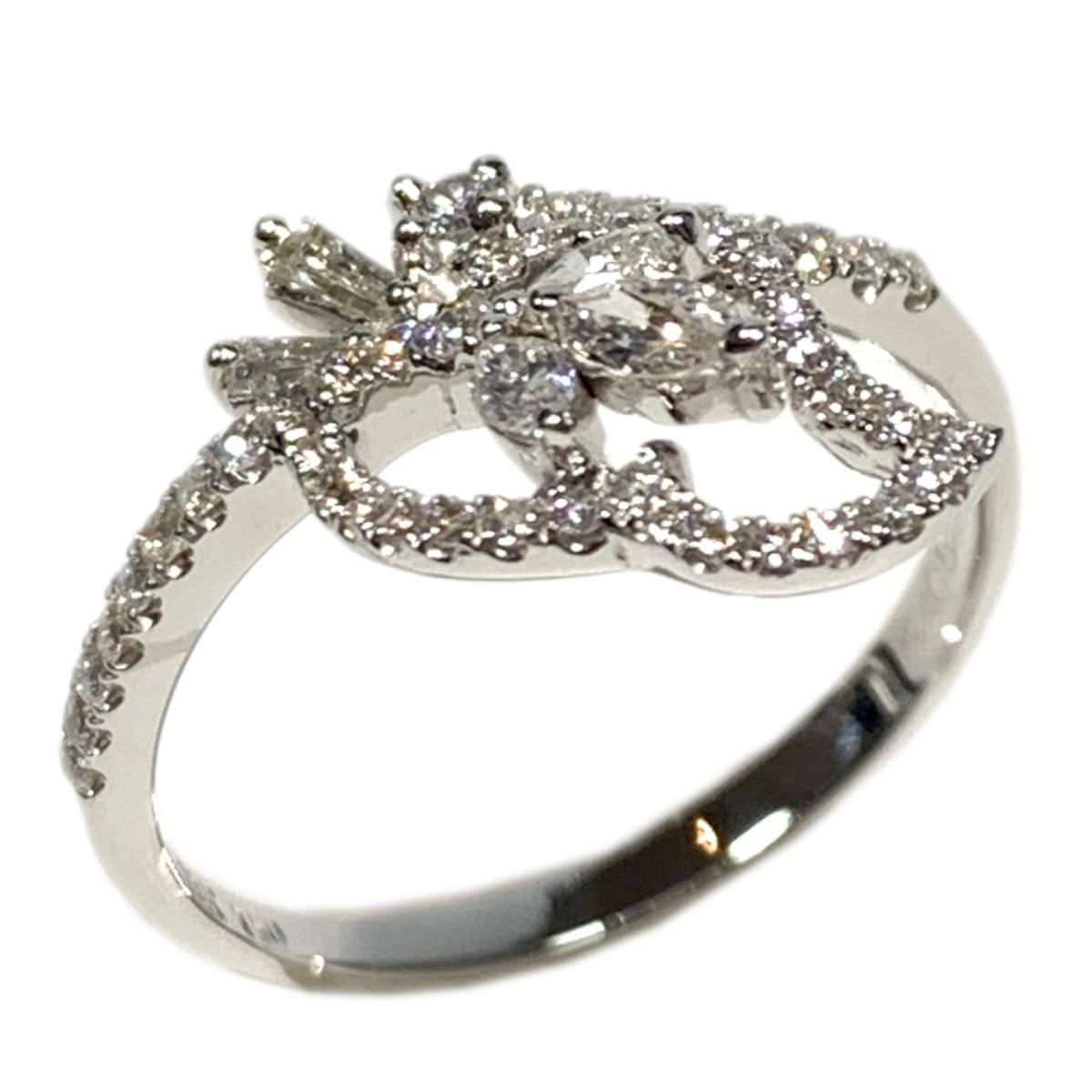 ジュエリー ダイヤモンド リング 指輪 ノーブランドジュエリー レディース K18WG (750) ホワイトゴールド x 0.52ct シルバー 【中古】 | JEWELRY BRANDOFF ブランドオフ ブランド アクセサリー