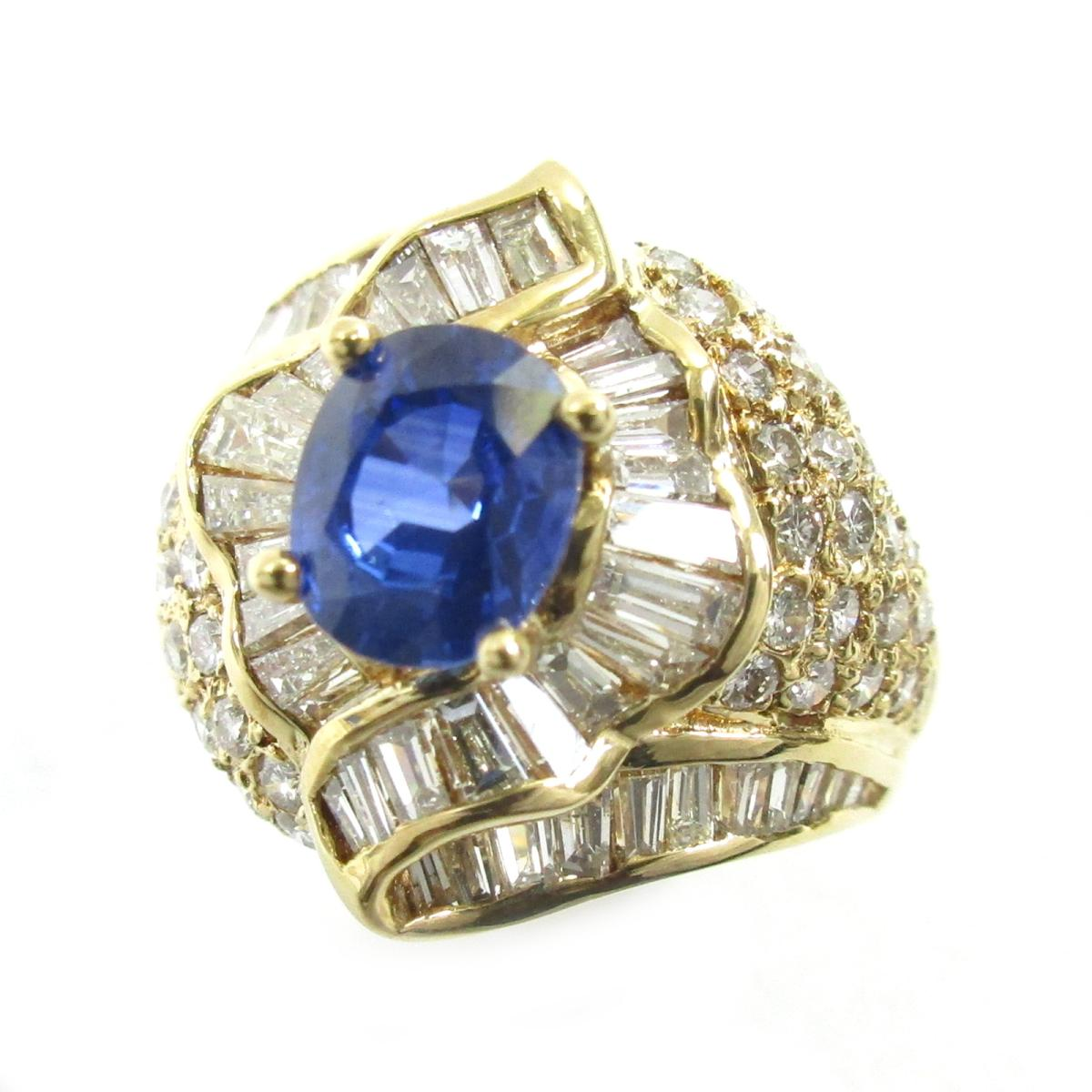ジュエリー サファイアリング 指輪 ノーブランドジュエリー レディース K18YG750イエローゴールドX ダイヤモンドqSRjAc354L