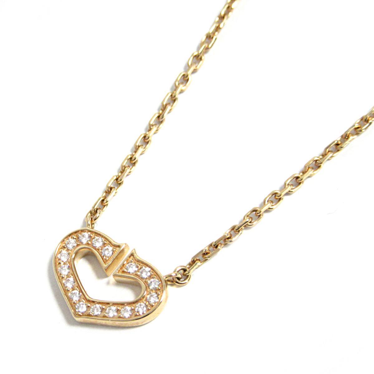 カルティエ Cハート ダイヤネックレス ブランドジュエリー レディース K18PG (750) ピンクゴールド ダイヤモンド (B7008400) 【中古】 | ブランド