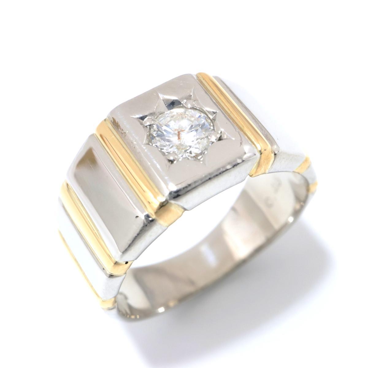 ジュエリー ダイヤモンド リング 指輪 ノーブランドジュエリー メンズ レディース PT900 プラチナ x K18YG (0.46ct) クリアー ゴールド シルバー 【中古】 | JEWELRY BRANDOFF ブランドオフ ブランド アクセサリー
