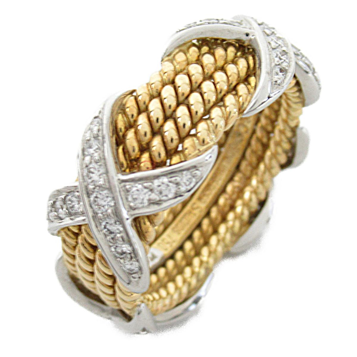 ティファニー シュランバーゼリング4ロウ 指輪 リング ブランドジュエリー メンズ レディース K18YG (750) イエローゴールド x PT950プラチナ ダイヤモンド 【中古】 | ブランド