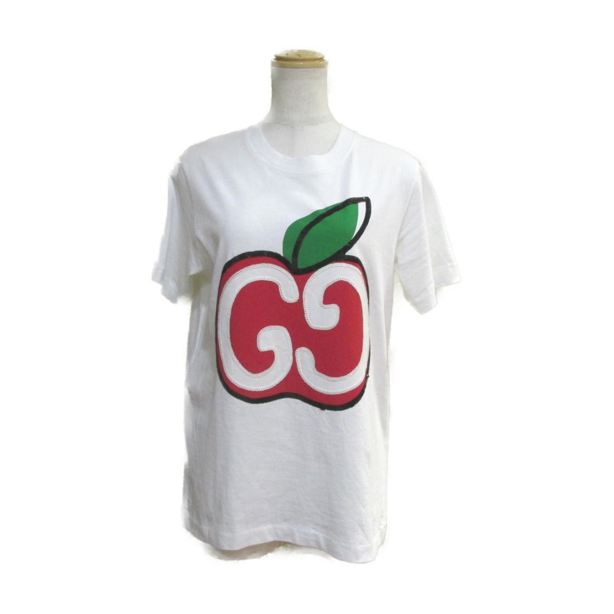 グッチ Tシャツ 衣料品 レディース コットン ホワイトxレッドxグリーン 【中古】 | GUCCI BRANDOFF ブランドオフ 衣類 ブランド トップス シャツ カットソー