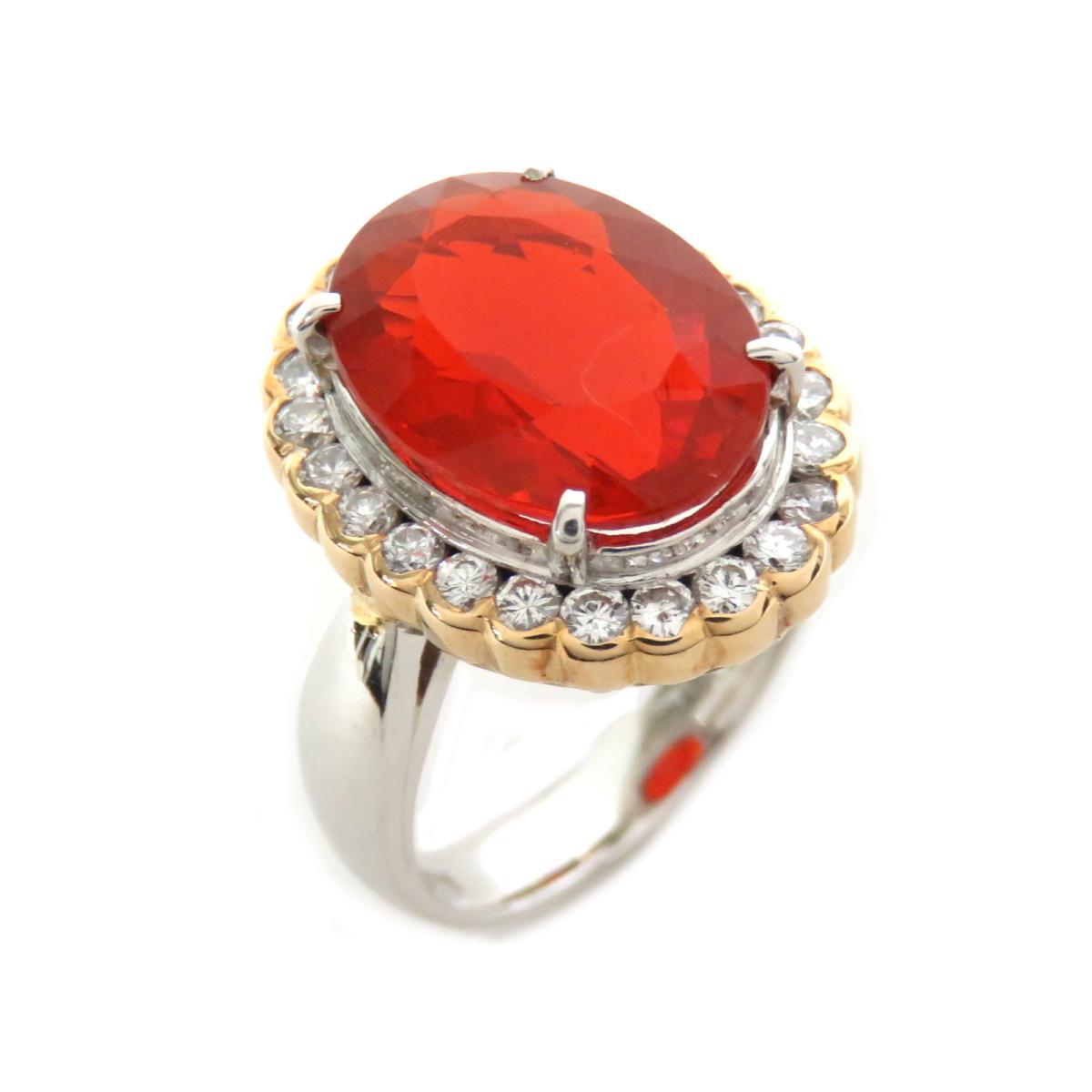 ジュエリー ファイヤーオパール ダイヤモンド リング 指輪 ノーブランドジュエリー レディース PT900 プラチナ | JEWELRY BRANDOFF ブランドオフ アクセサリー