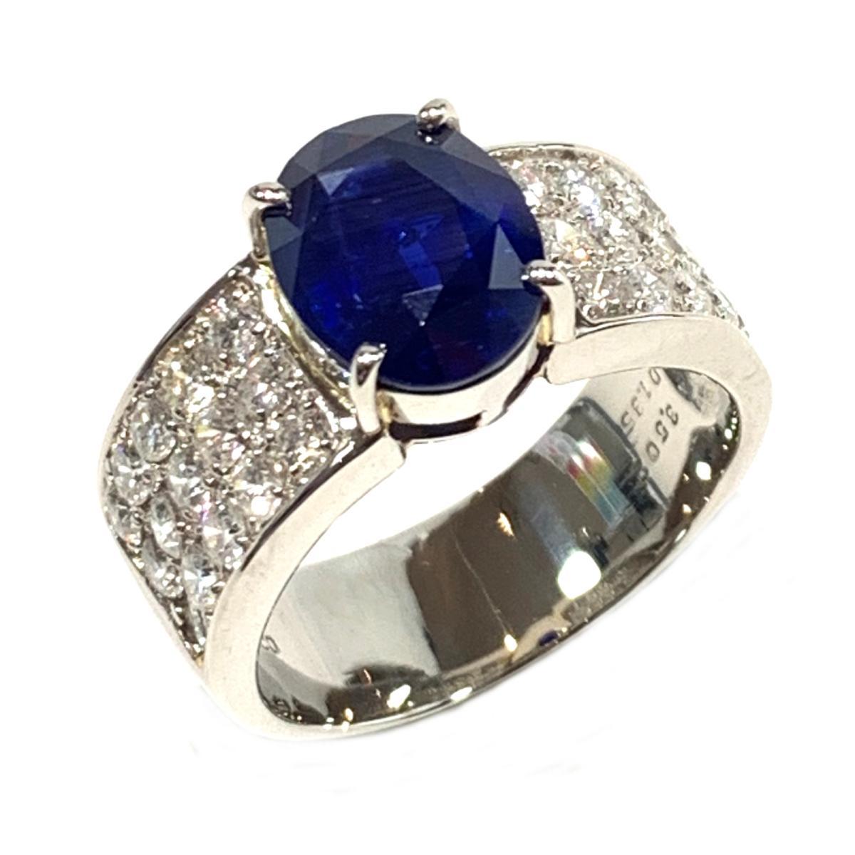 ジュエリー サファイア ダイヤモンド リング 指輪 ノーブランドジュエリー レディース PT900 プラチナ x サファイア3.50 ダイヤ1.35ct ブルー クリアー シルバー 【中古】 | ブランド