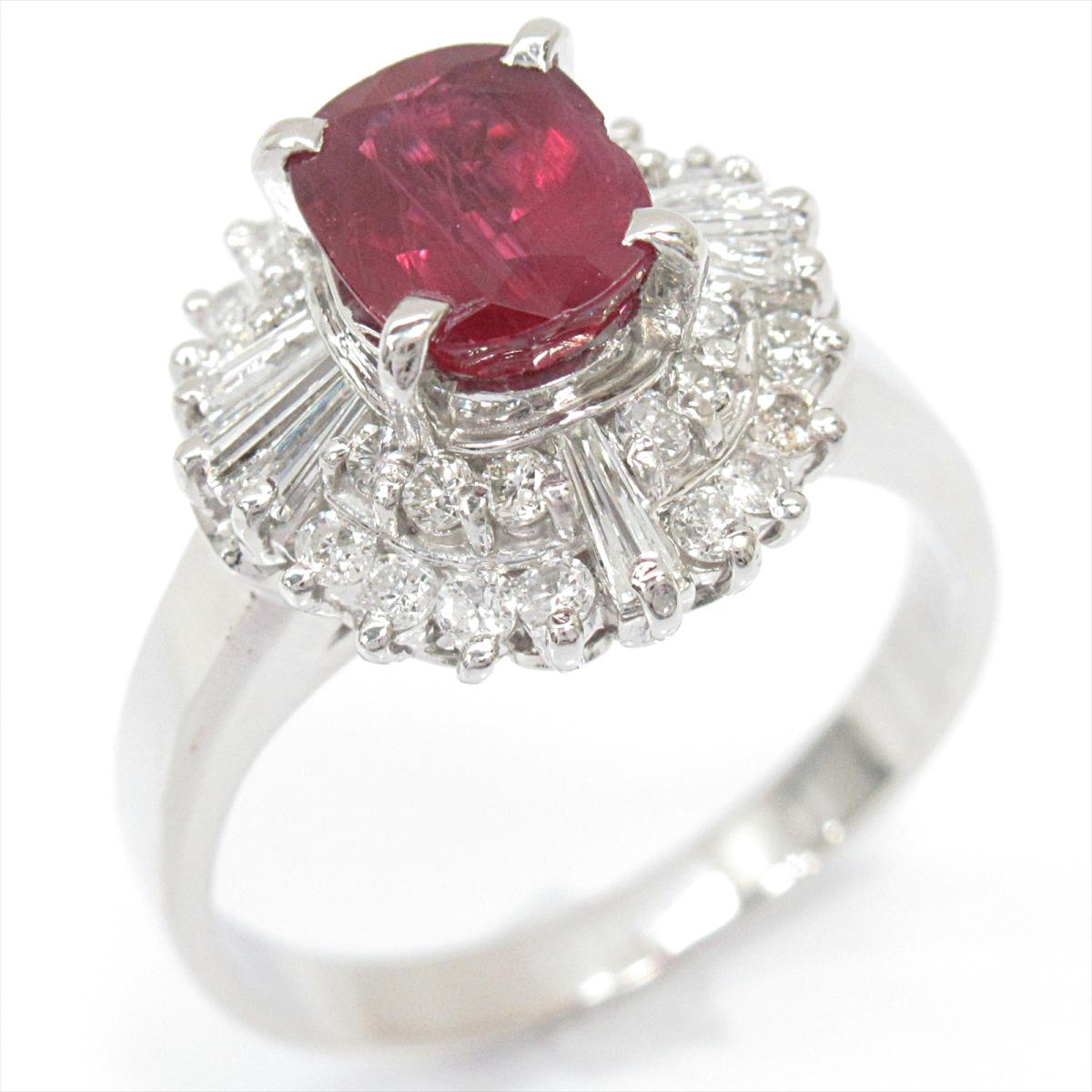 ジュエリー ルビー リング 指輪 ノーブランドジュエリー レディース PT900 プラチナ x (1.32ct) ダイヤモンド (0.59ct) | JEWELRY BRANDOFF ブランドオフ ブランド アクセサリー