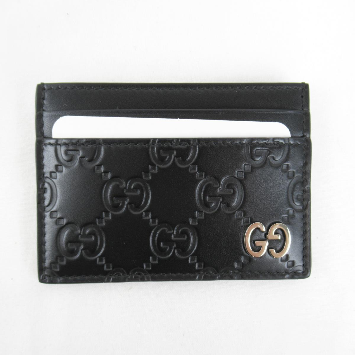 グッチ SLG グッチシマ カードケース メンズ レディース ブラック (473927CWC1N1000)   GUCCI BRANDOFF ブランドオフ ブランド ブランド雑貨 小物 雑貨 名刺入れ 名刺 カード ケース