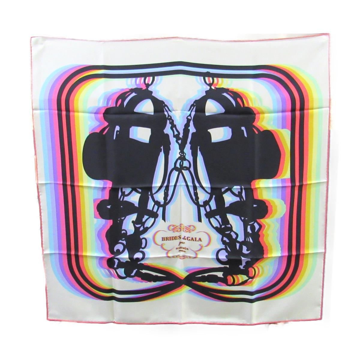 エルメス スカーフ90 衣料品 レディース シルク ピンク×マルチカラー