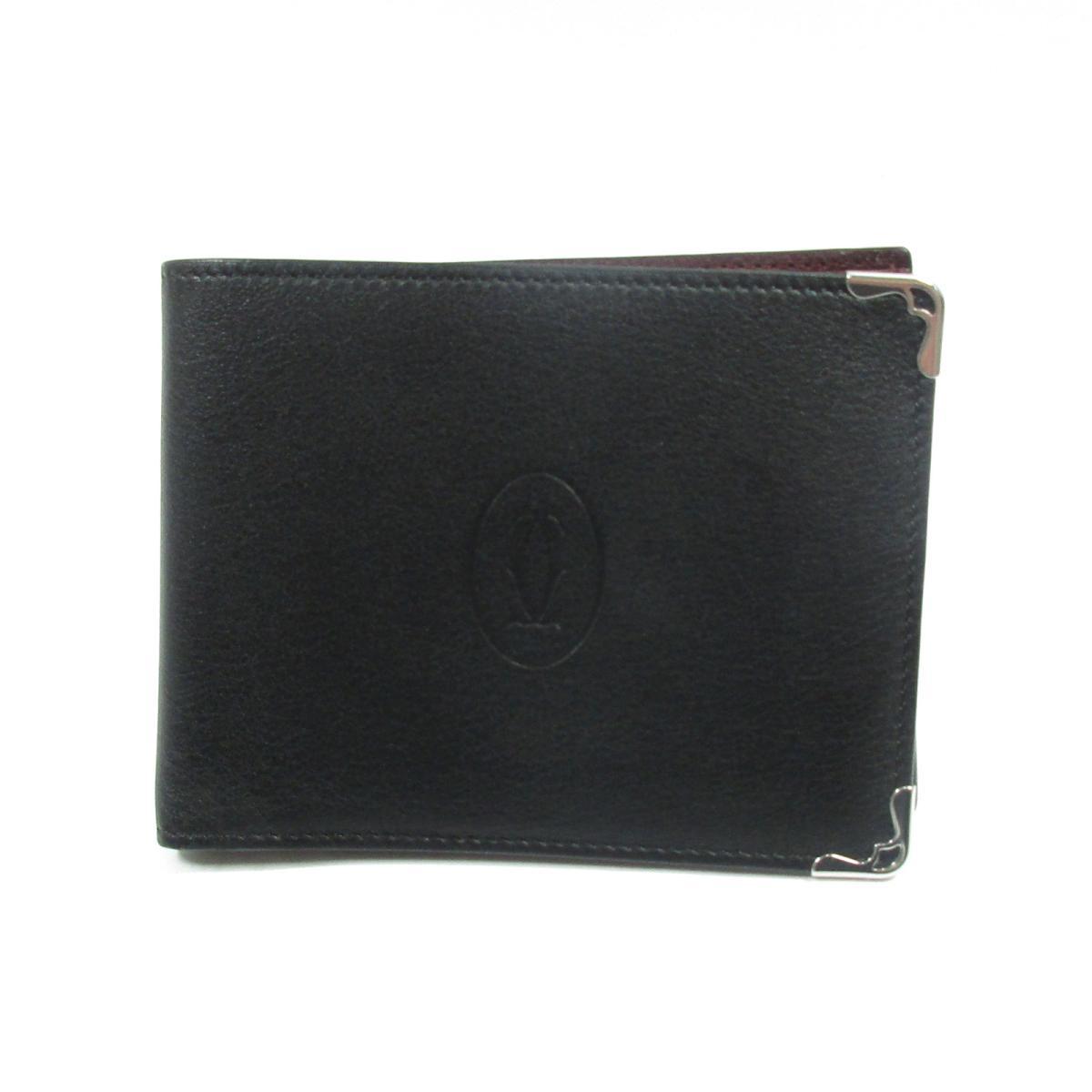 【中古】カルティエ マストドゥカルティエ 財布 財布 メンズ 牛革(カーフ) ブラック × ボルドー (CRL3001369)