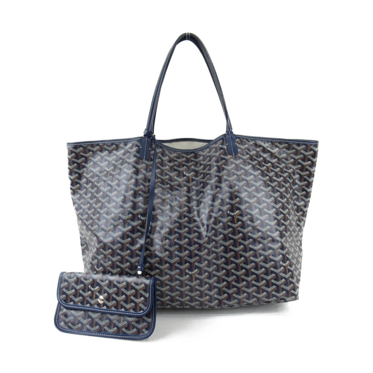 【中古】ゴヤール サンルイGM トートバッグ バッグ ユニセックス コーティングキャンバスxレザー ブルー x ブラック (MAE020187)