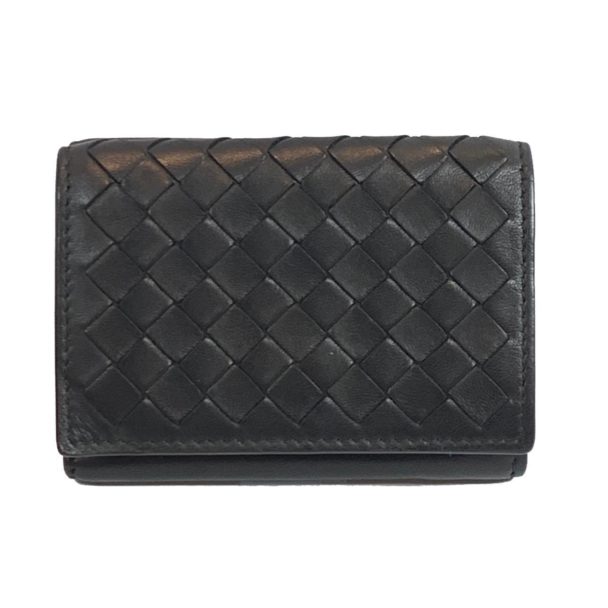 【中古】ボッテガ・ヴェネタ イントレチャート ミニウォレット 三つ折財布 財布 メンズ レザー ブラック
