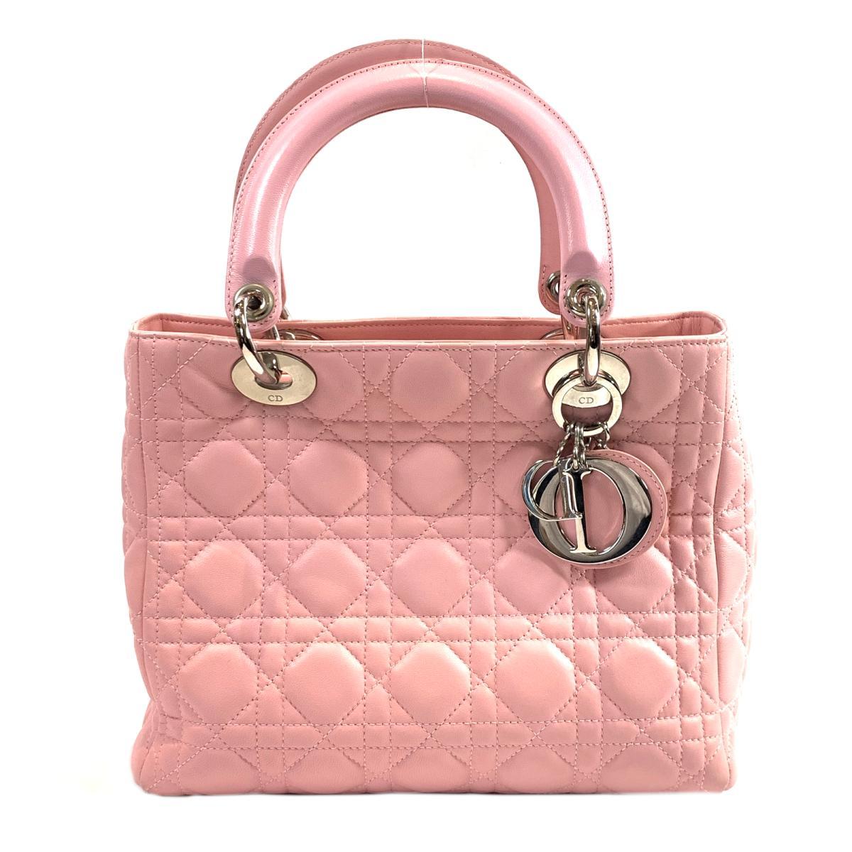 【中古】クリスチャン・ディオール レディーディオール ハンドバッグ バッグ レディース 牛革(カーフ) ピンク