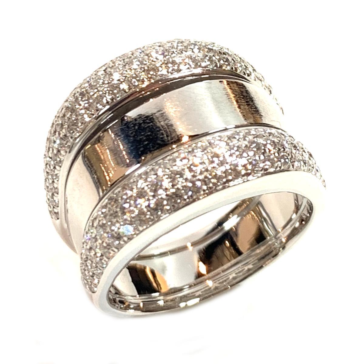 ジュエリー ダイヤリング 指輪 ノーブランドジュエリー メンズ レディース K18WG (750) ホワイトゴールド ダイヤモンド シルバー クリアー 【中古】 | JEWELRY BRANDOFF ブランドオフ アクセサリー リング
