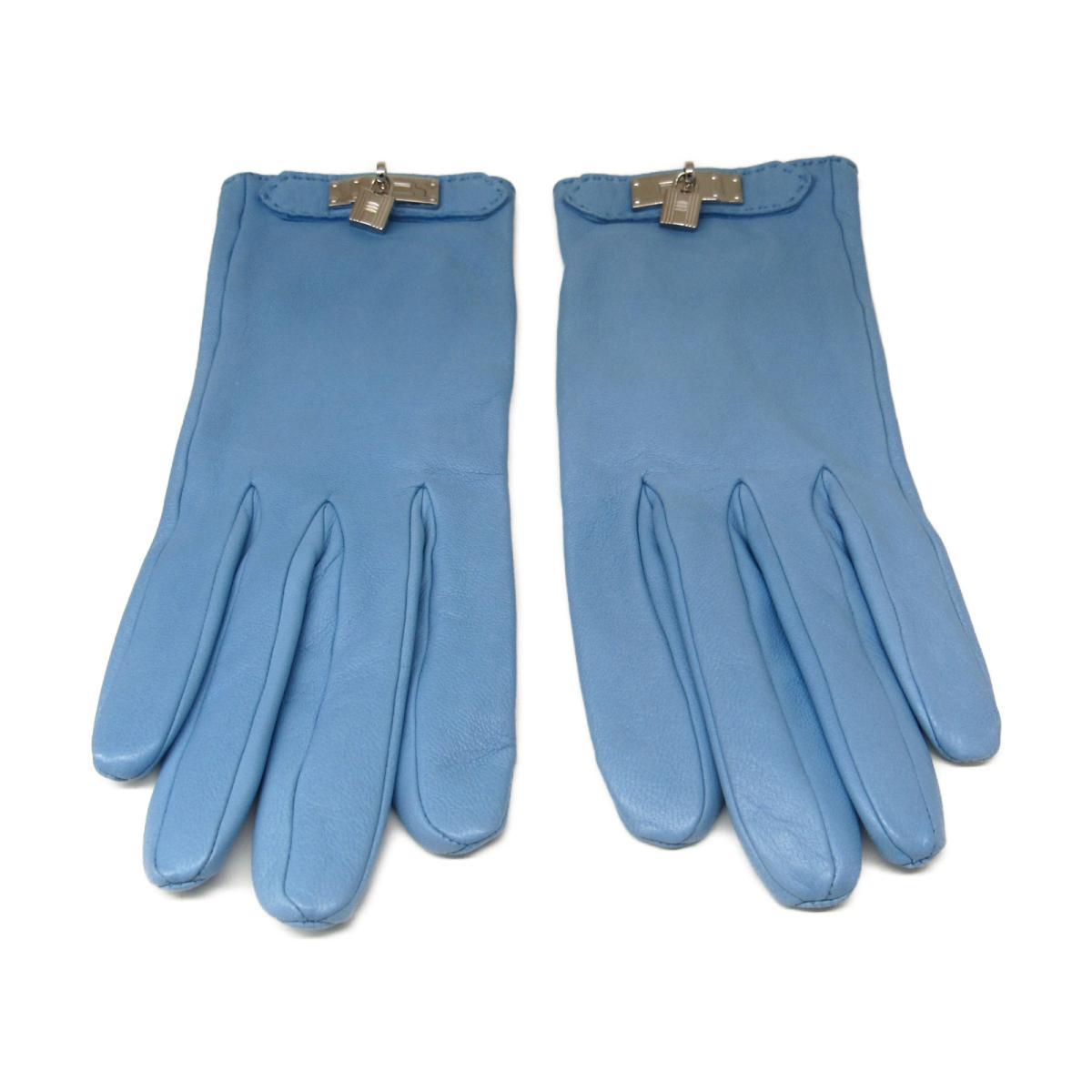 【中古】エルメス 手袋  グローブ 衣料品 レディース 羊革(ラム) ブルー系(金具:シルバー)
