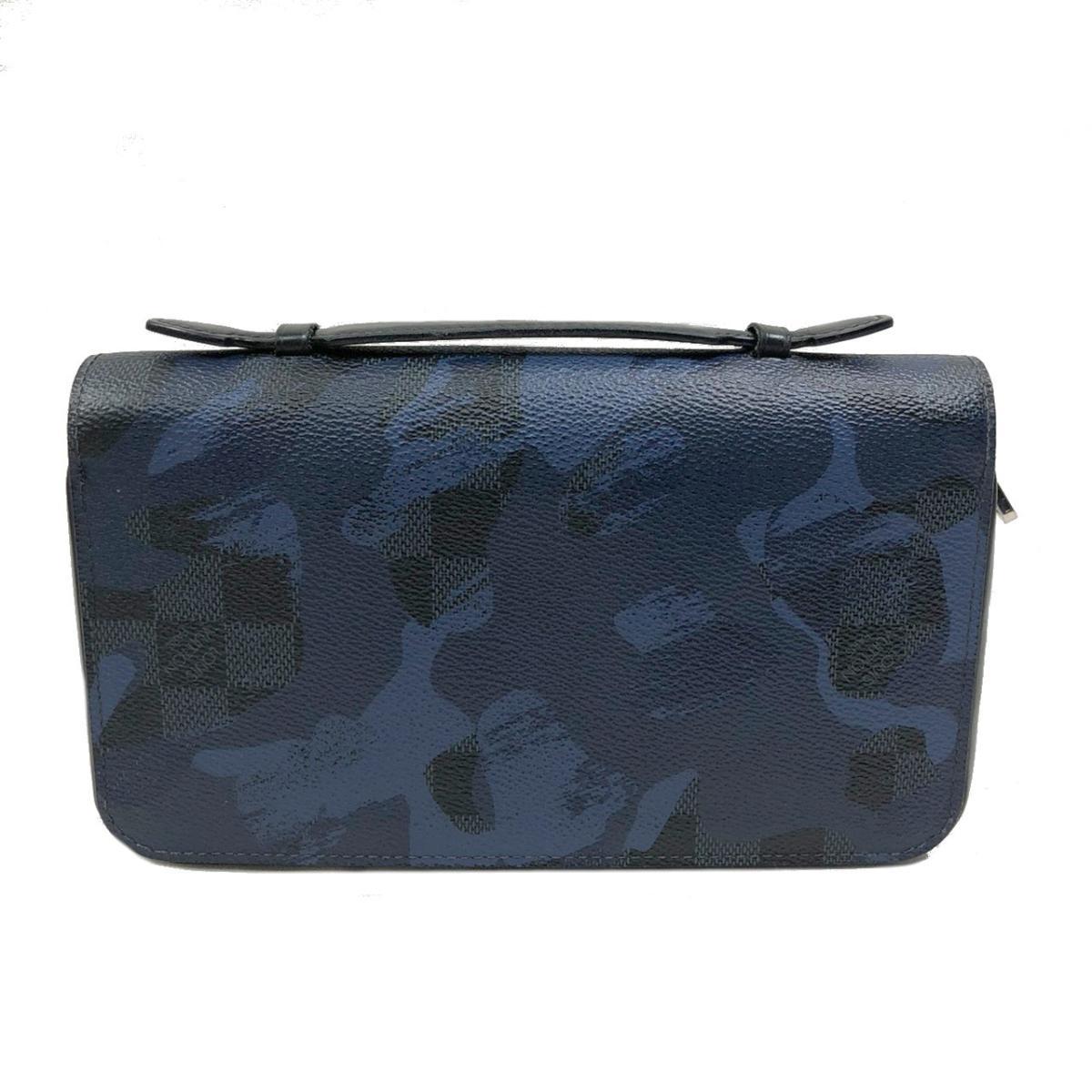【中古】ルイヴィトン ジッピー XL ラウンド長財布  財布 メンズ ダミエ・コバルト カモフラージュ ネイビー×ブルー (N63287)
