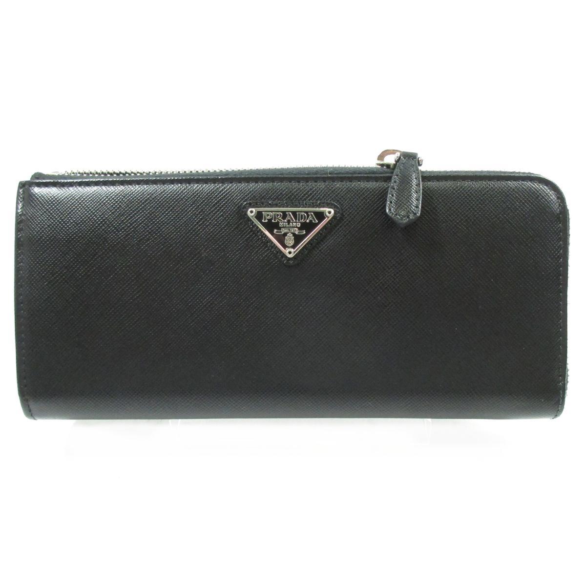 【中古】プラダ L型ZIP財布 財布 ユニセックス レザー ブラック