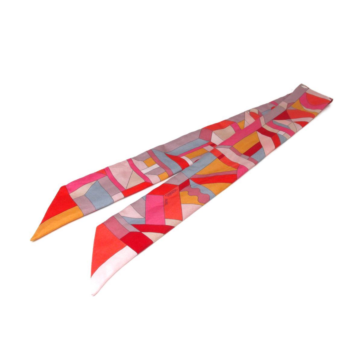 【中古】エルメス トゥイリー スカーフ 衣料品 レディース シルク オレンジ×ピンク