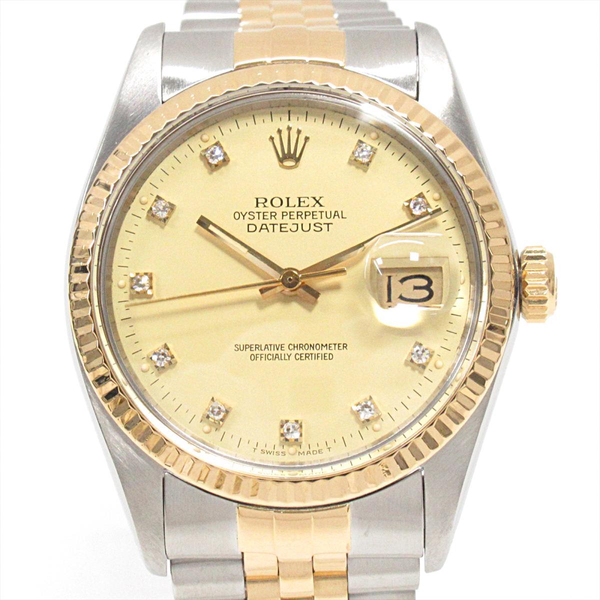 【ラッピング不可】 ロレックス ロレックス デイトジャスト 腕時計 ウォッチ (10P) 時計 メンズ ステンレススチール (SS) x ステンレススチール K18YG (イエローゴールド) ダイヤモンド (10P) (16013G)【】, 薬草の森はくすい堂:1b5c36f6 --- baecker-innung-westfalen-sued.de