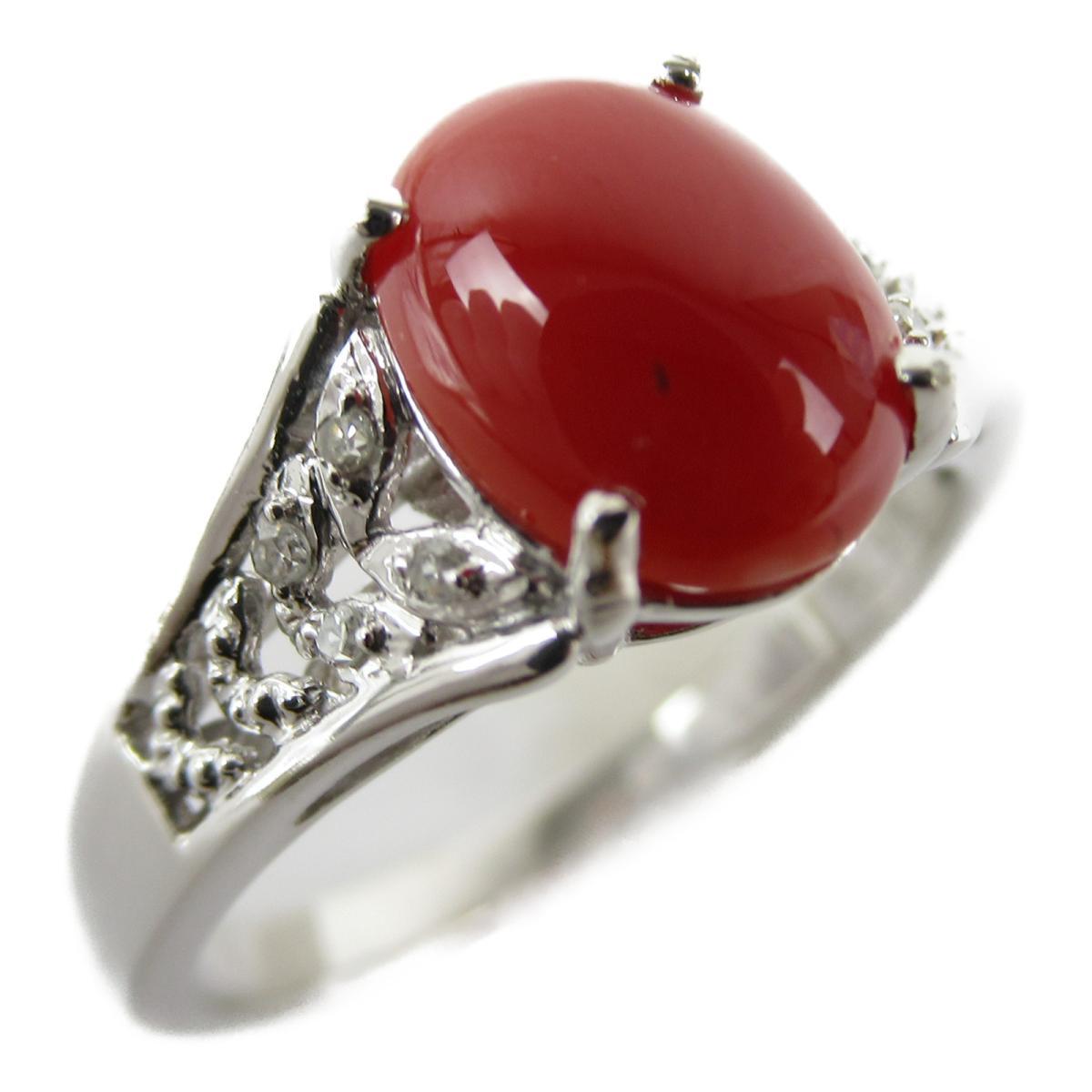 ジュエリー サンゴ ダイヤモンド リング 指輪 ノーブランドジュエリー レディース K18WG (750) ホワイトゴールド x (石目なし) 【中古】 | JEWELRY BRANDOFF ブランドオフ アクセサリー