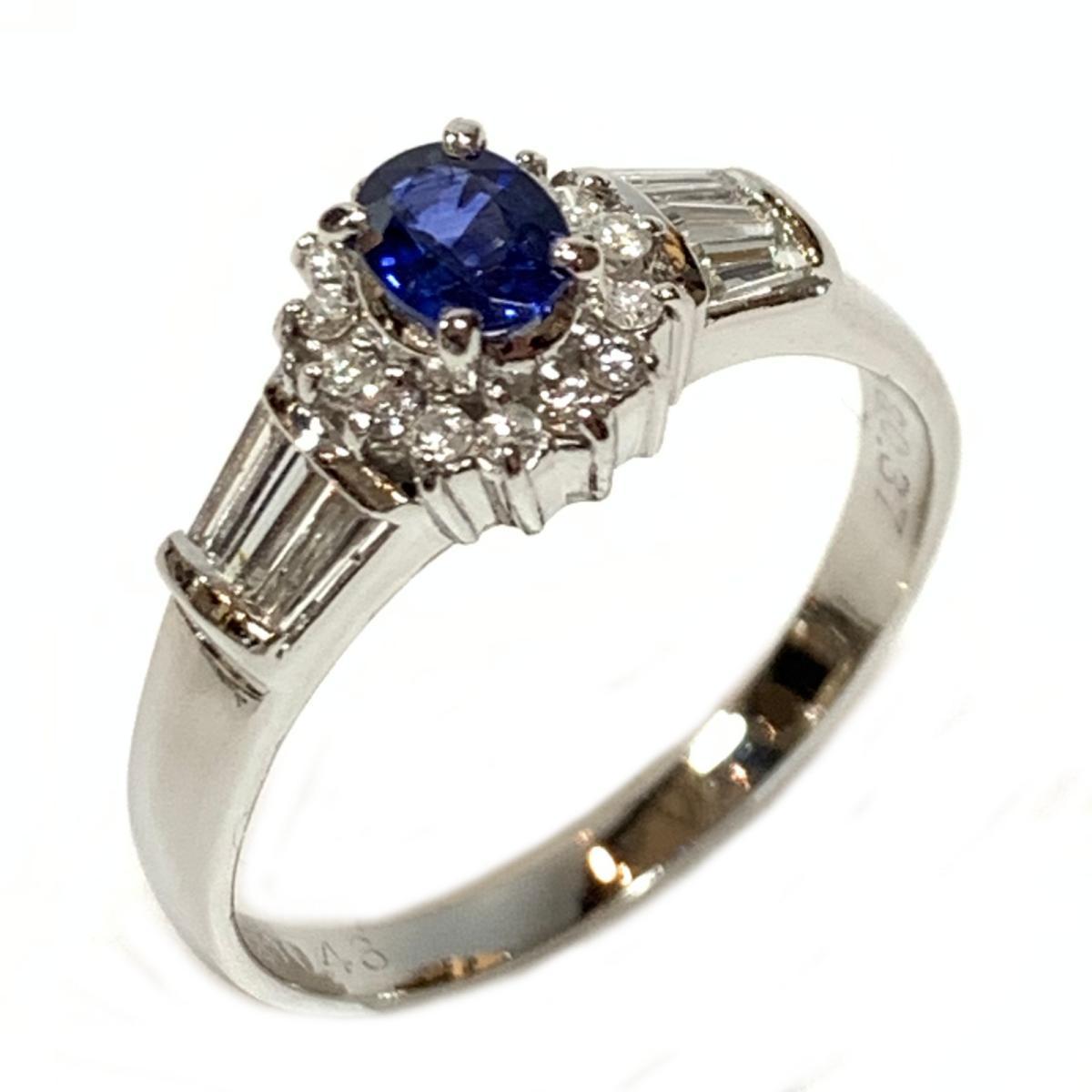 ジュエリー サファイア ダイヤモンド リング 指輪 ノーブランドジュエリー レディース PT900 プラチナ x サファイア0.37 ダイヤ0.43ct ブルー クリアーxシルバー | JEWELRY BRANDOFF ブランドオフ アクセサリー