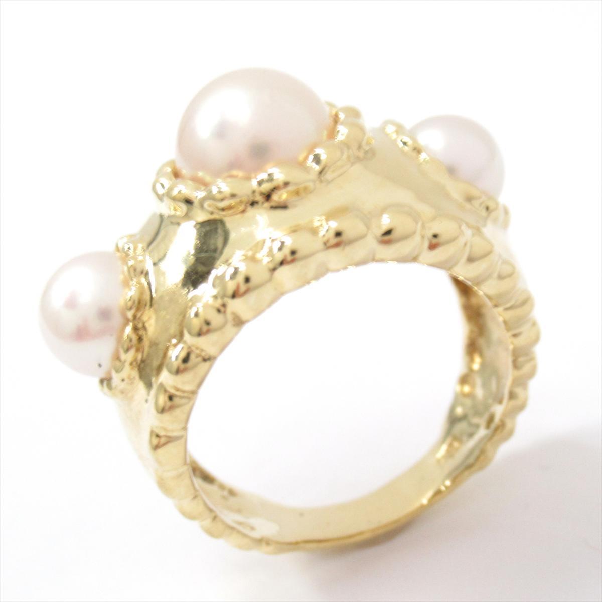 ジュエリー パール リング 指輪 ノーブランドジュエリー レディース K18YG750イエローゴールドxパール ホワイトtQshCrd