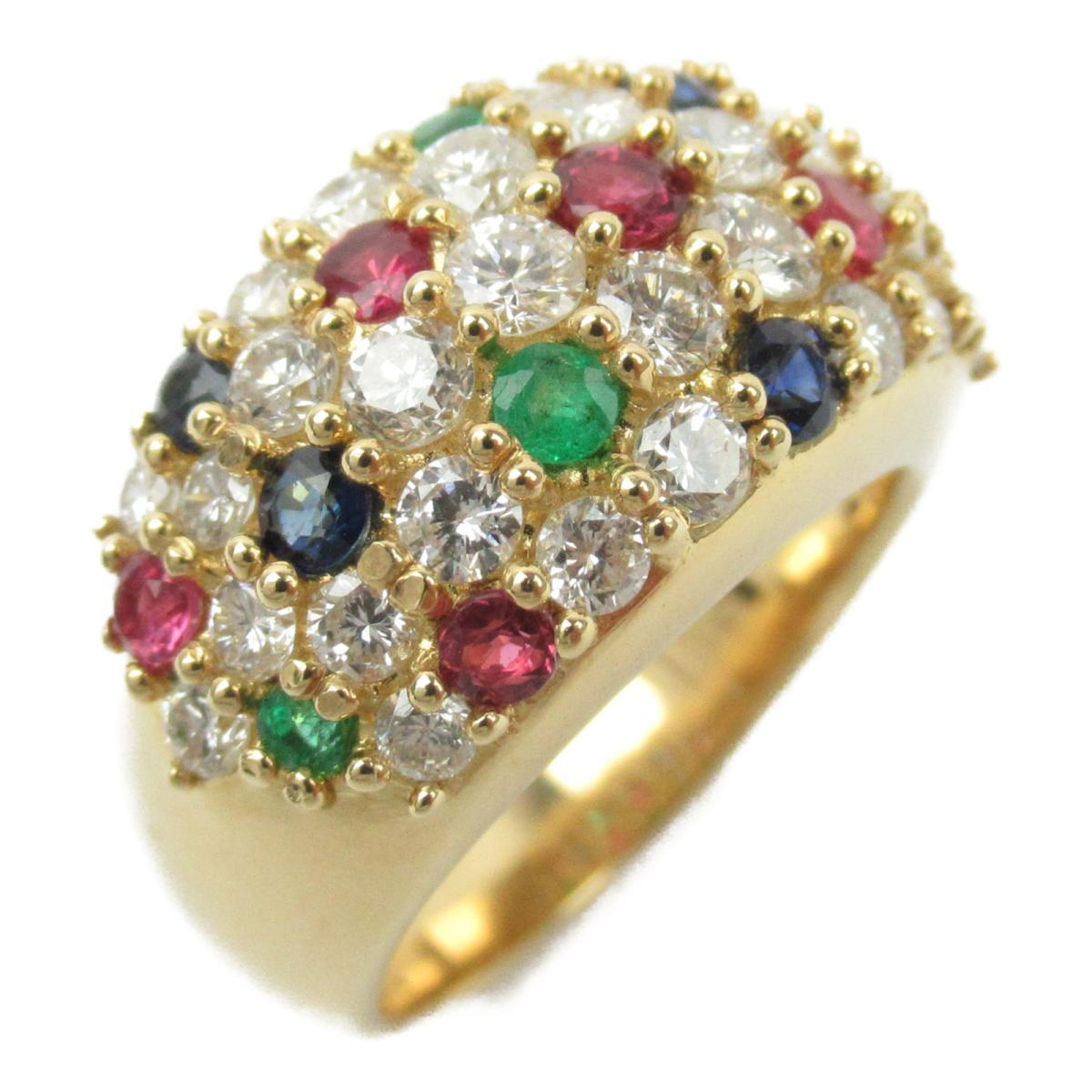 ジュエリー マルチ リング 指輪 ノーブランドジュエリー レディース K18YG (750) イエローゴールド x ダイヤモンド1.65/ルビー0.48/サファイア0.39ct/エメラルド0.26ct 【中古】 | ブランド