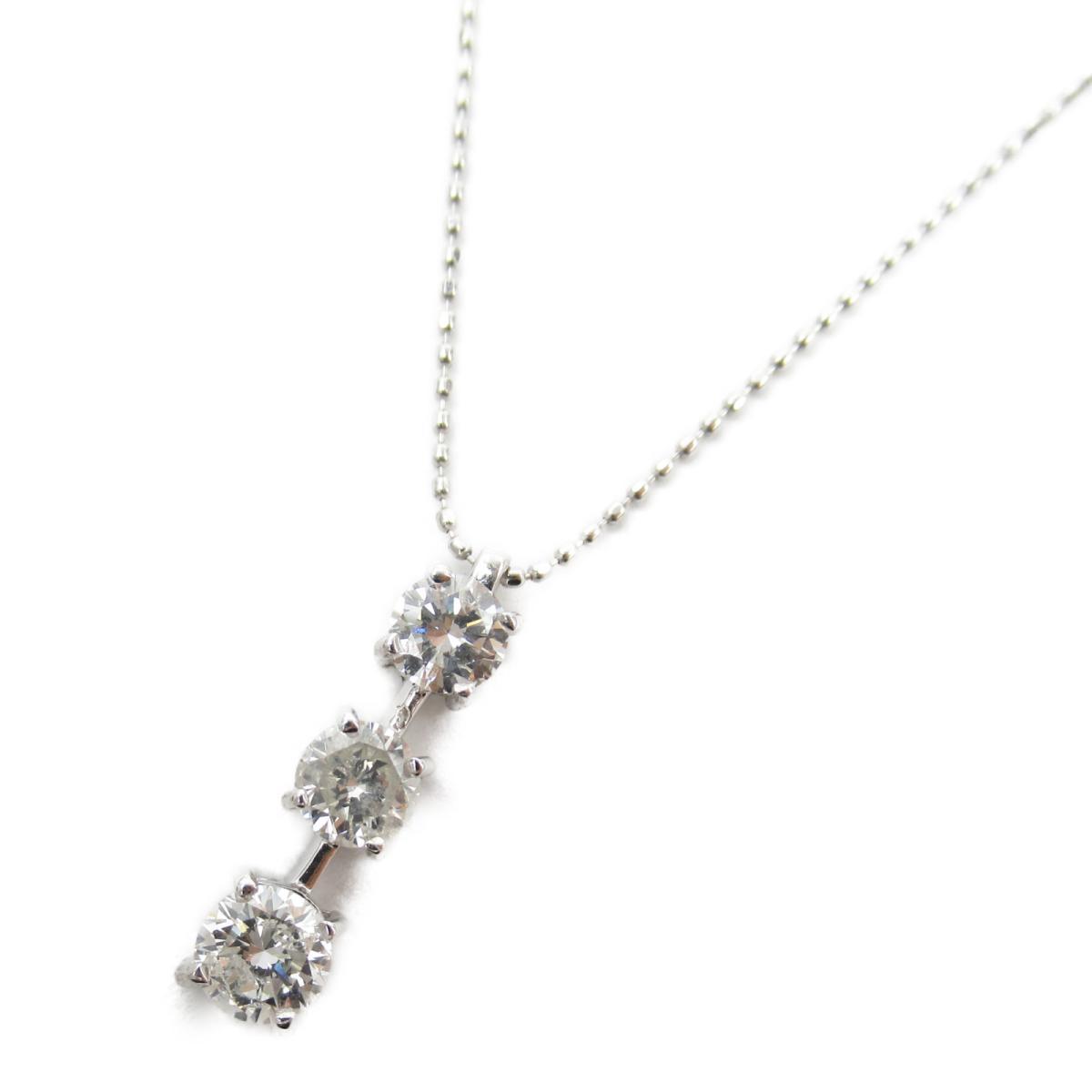 ジュエリー ダイヤモンド ネックレス ノーブランドジュエリー レディース K18WG (750) ホワイトゴールド x ダイヤモンド1.13ct 【中古】 | JEWELRY BRANDOFF ブランドオフ アクセサリー ペンダント