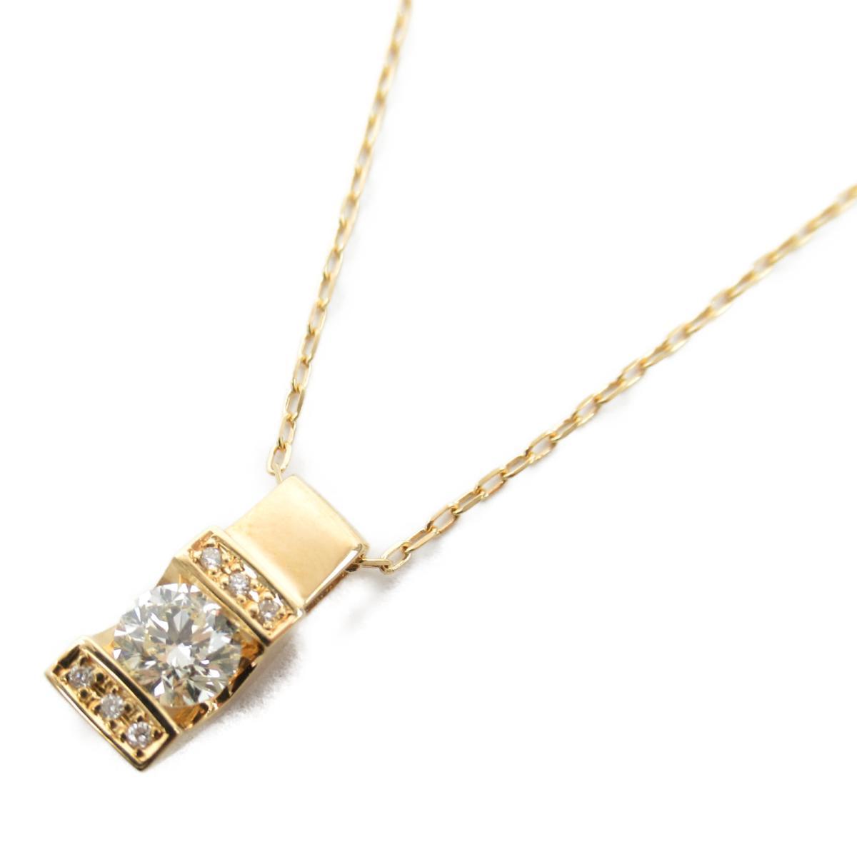 ジュエリー ダイヤモンド ネックレス ノーブランドジュエリー レディース K18YG (750) イエローゴールド x ダイヤモンド0.401/0.02ct 【中古】   JEWELRY BRANDOFF ブランドオフ アクセサリー ペンダント