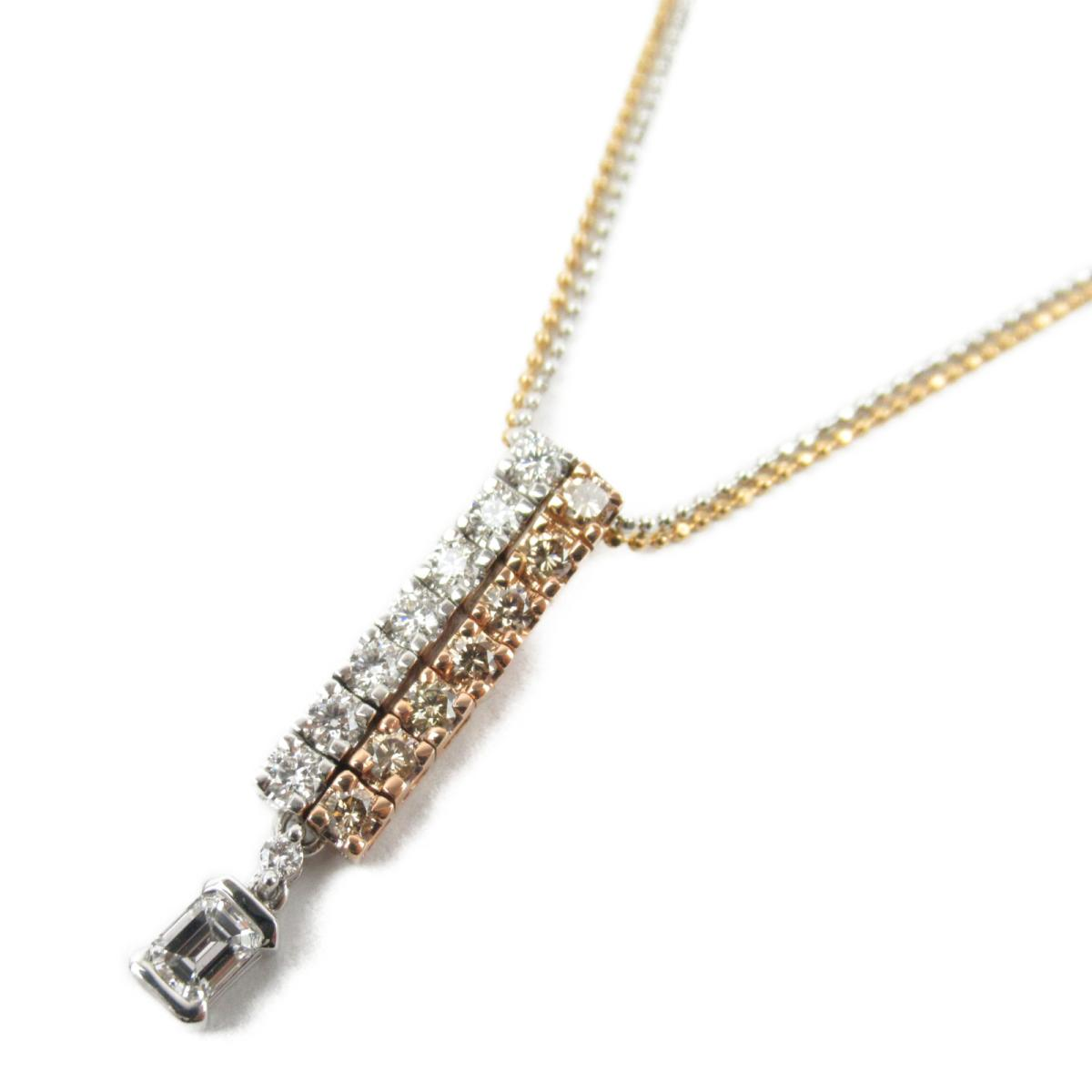 ジュエリー コンビ ダイヤモンド ネックレス ノーブランドジュエリー レディース K18WG (750) ホワイトゴールドK18イエローゴールド x ダイヤモンド0.71ct 【中古】 | ブランド