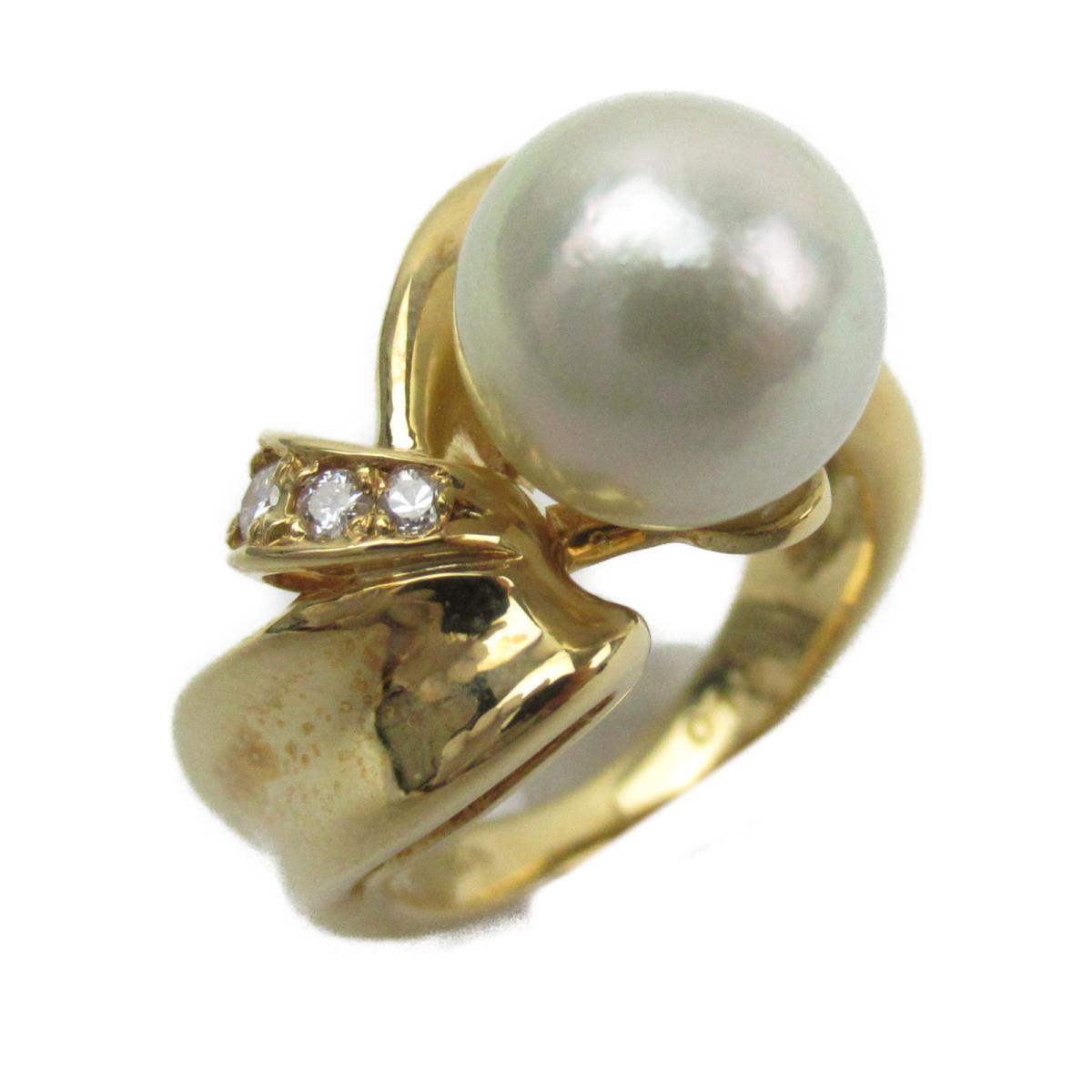 ジュエリー アコヤパール ダイヤモンド リング 指輪 ノーブランドジュエリー レディース K18YG (750) イエローゴールド x 9mm/ダイヤモンド0.10ct 【中古】 | JEWELRY BRANDOFF ブランドオフ アクセサリー