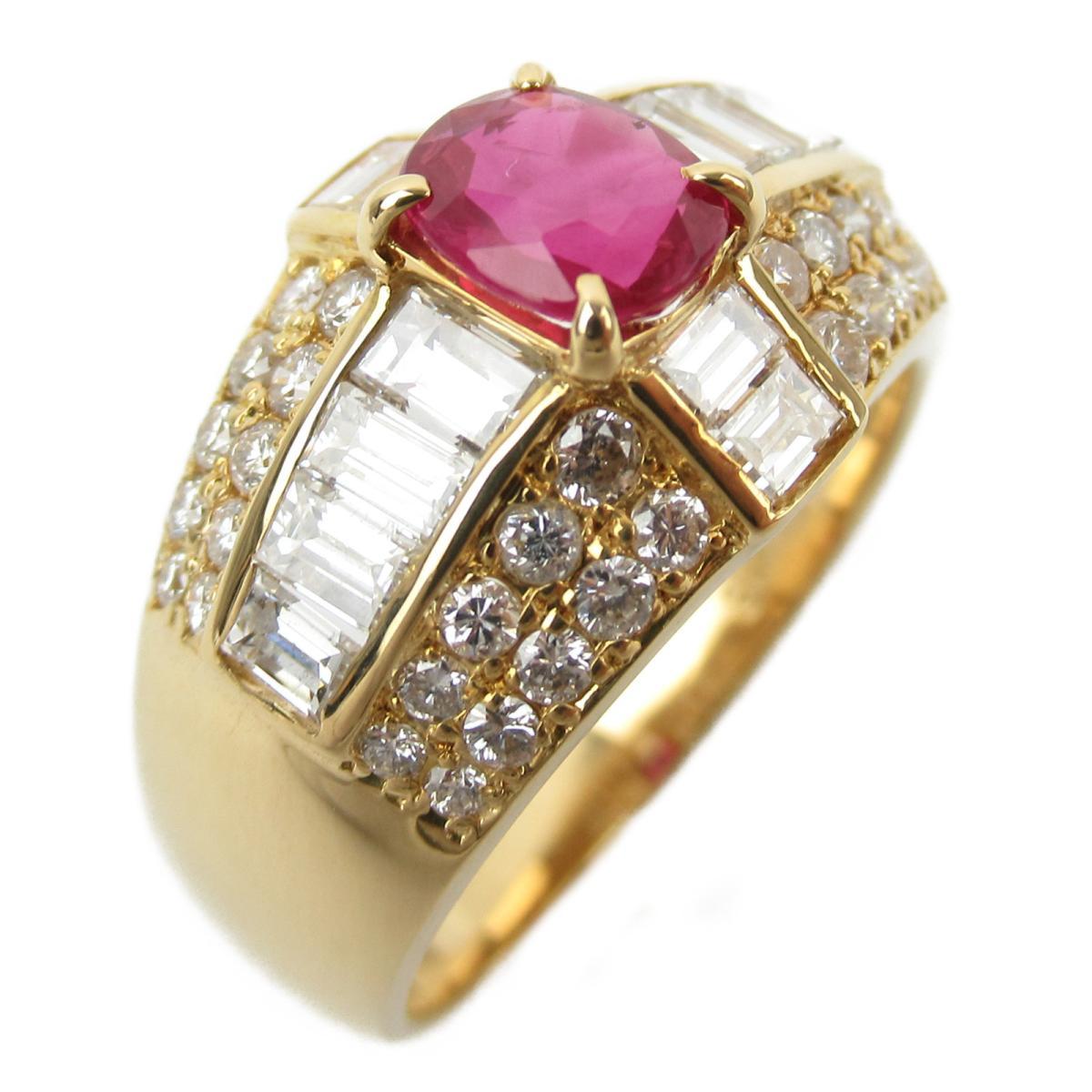 ジュエリー ルビーダイヤモンド リング 指輪 ノーブランドジュエリー レディース K18YG (750) イエローゴールド x ダイヤモンド ルビー/1.35/0.67ct 【中古】 | JEWELRY BRANDOFF ブランドオフ アクセサリー