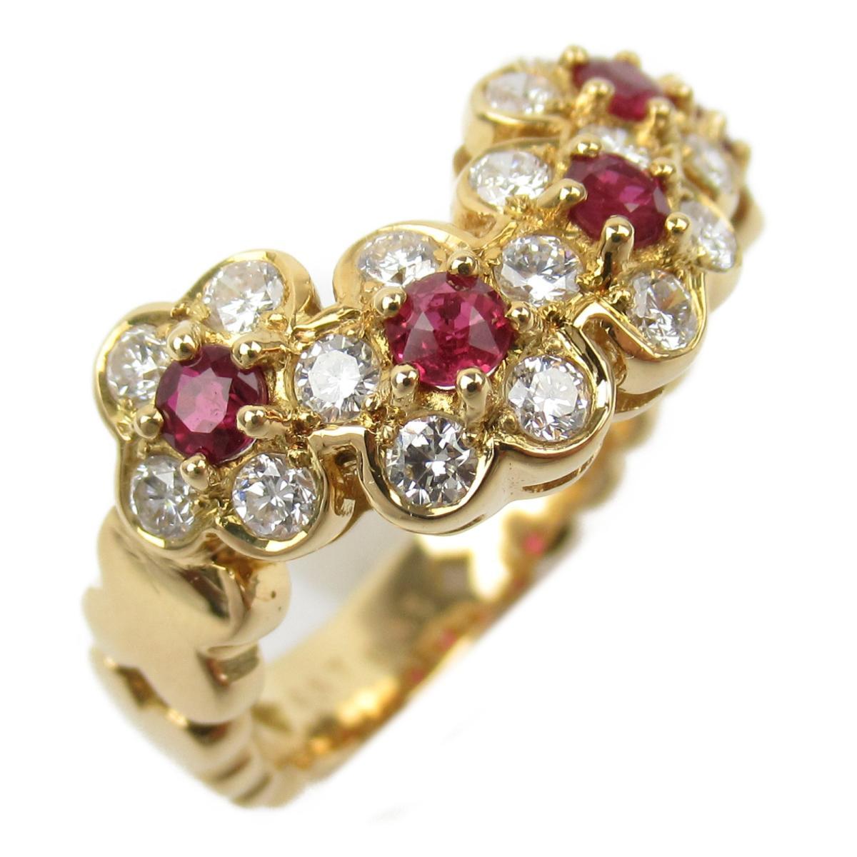 ジュエリー ルビーダイヤモンド リング 指輪 ノーブランドジュエリー レディース K18YG (750) イエローゴールド x ルビー/ダイヤモンド/0.57/0.65ct 【中古】 | JEWELRY BRANDOFF ブランドオフ アクセサリー