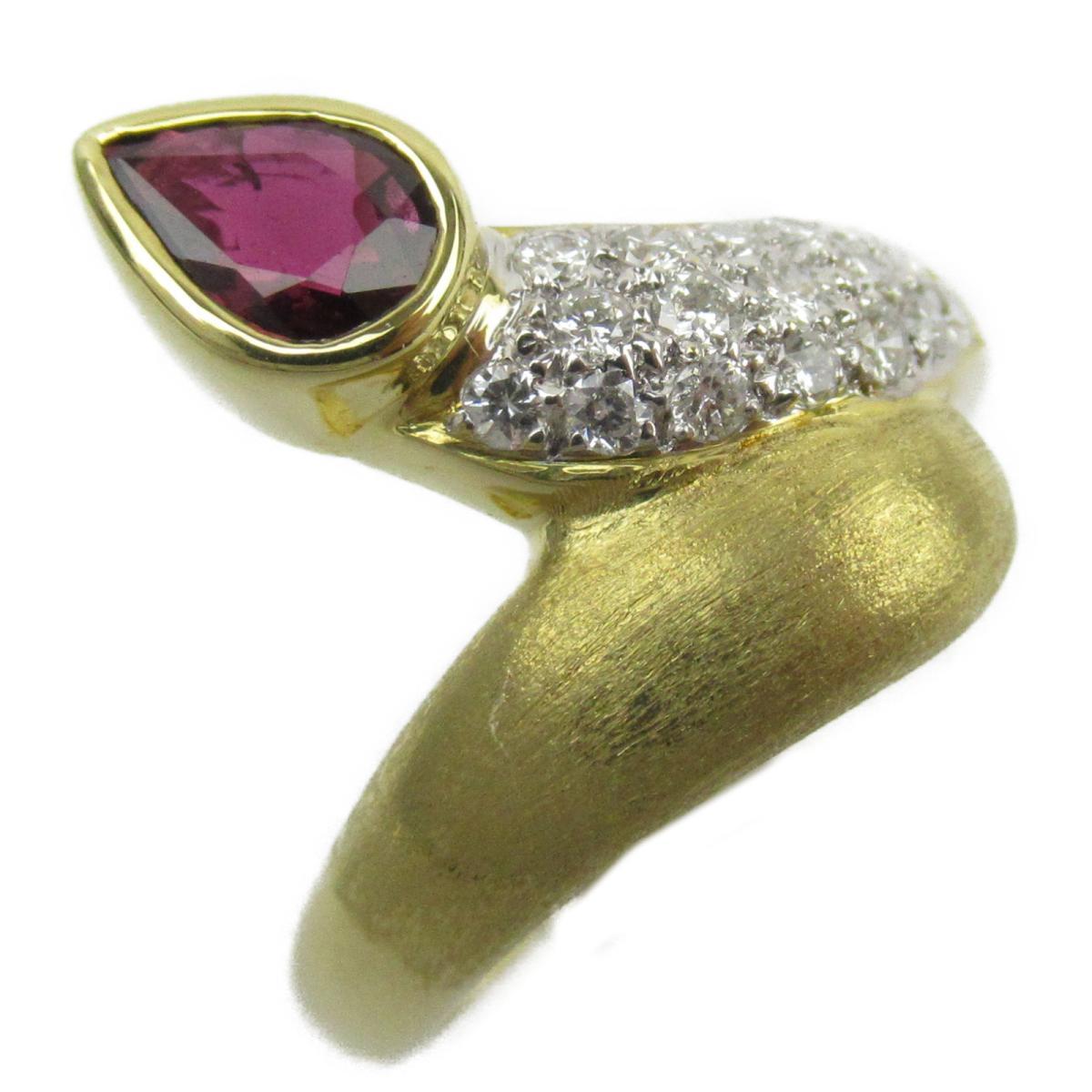 ジュエリー ルビー ダイヤモンド リング 指輪 ノーブランドジュエリー レディース K18YG (750) イエローゴールド x ルビー0.32/ダイヤモンド0.30ct 【中古】 | JEWELRY BRANDOFF ブランドオフ アクセサリー
