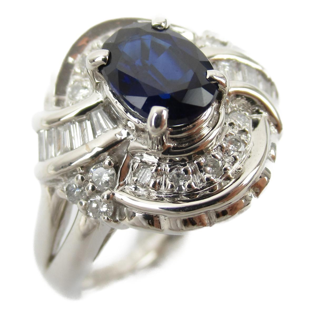 ジュエリー サファイア ダイヤモンド リング 指輪 ノーブランドジュエリー レディース PT900 プラチナ x サファイア1.02/ダイヤモンド0.36ct 【中古】 | JEWELRY BRANDOFF ブランドオフ アクセサリー