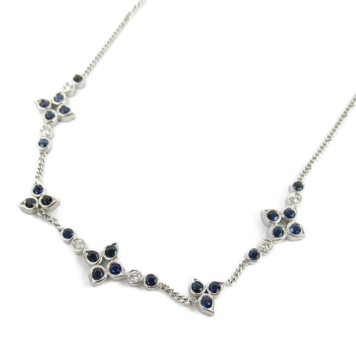 ジュエリー サファイア ダイヤモンド ネックレス ノーブランドジュエリー レディース K18WG (750) ホワイトゴールド x サファイア2.95/ダイヤモンド0.29ct 【中古】 | ブランド
